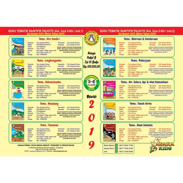 Jual DISTRIBUTOR BUKU MURAH TK/PAUD USIA DINI 5-6Th k13 - Kota Tangerang -  AsakaMarket | Tokopedia