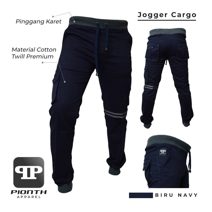 CELANA JOGGER CARGO ORIGINAL PREMIUM - Biru Navy, M