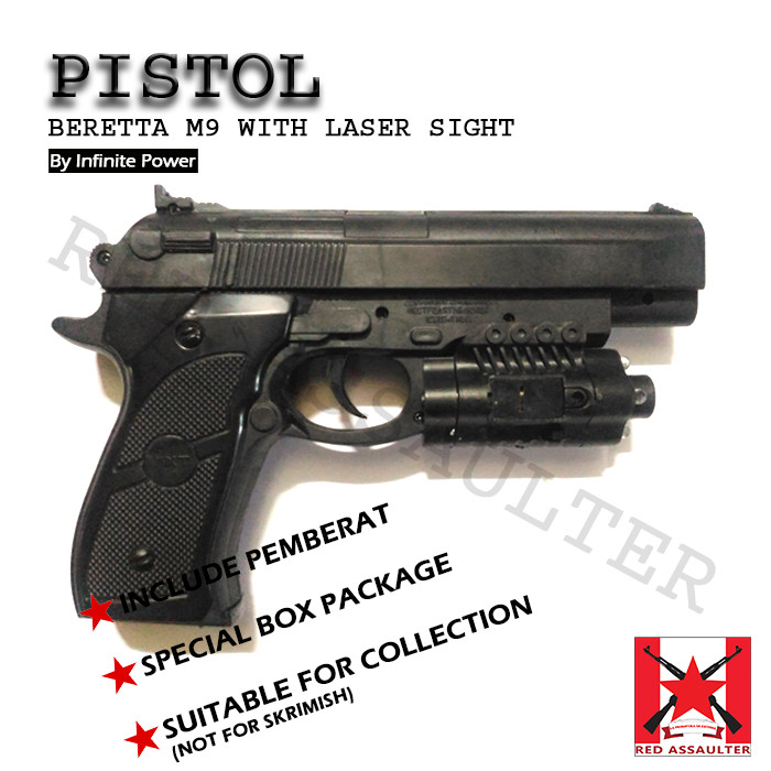 Jual Pistol Beretta M9 With Laser Sight - Infinite Power - Spring - Kokang  - Kota Mojokerto - Ammu-NationS | Tokopedia
