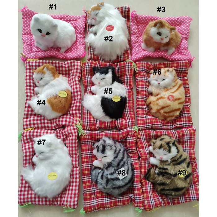 harga Boneka kucing pajangan meja tidur atau duduk bersuara meow Tokopedia.com