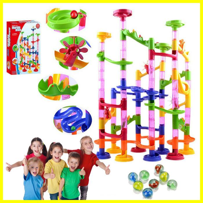 Foto Produk Mainan Anak Bayi Belajar Edukasi Puzzle Marble Run Balap Kelereng 105p dari Iyesh Online Store