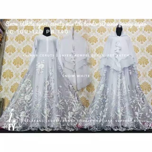 Jual Set Gamis Syari Baju Muslim Pesta Mewah Akad Nikah Putih Tile Kota Medan Hiltonbabyshop Tokopedia