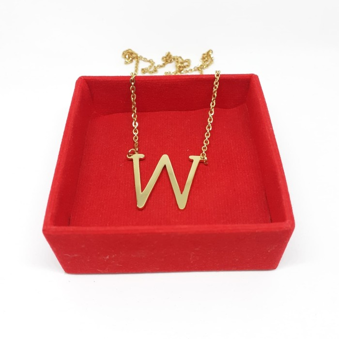 Jual Kalung Nama Insial Huruf W Lapis Emas Custom Kab Jepara Mwp Jewelry Tokopedia
