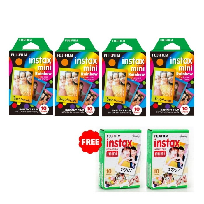 harga Fujifilm instax paper mini instant film rainbow 4 pack (40 sheets) Tokopedia.com