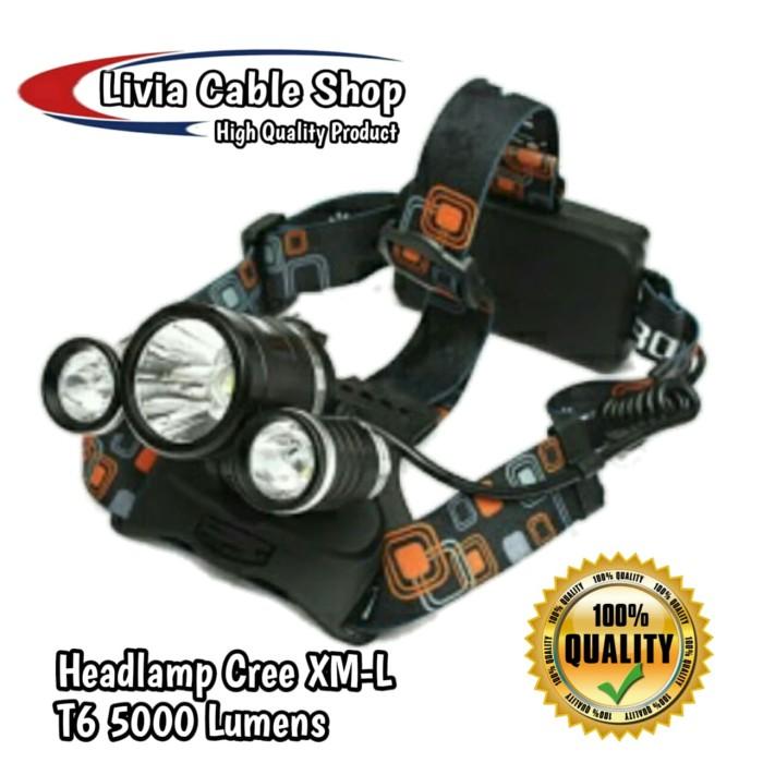 Headlamp Cree XM-L T6 5000 Lumens Senter Kepala Laut Camping Berburu
