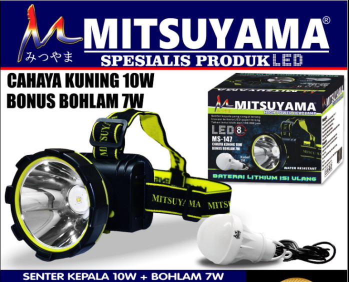 Senter Kepala LED Cahaya Kuning + Baterai 18650 Mitsuyama