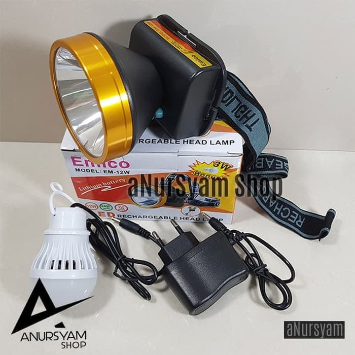 Senter Kepala 12 Watt EMICO Bonus LED 3 Watt