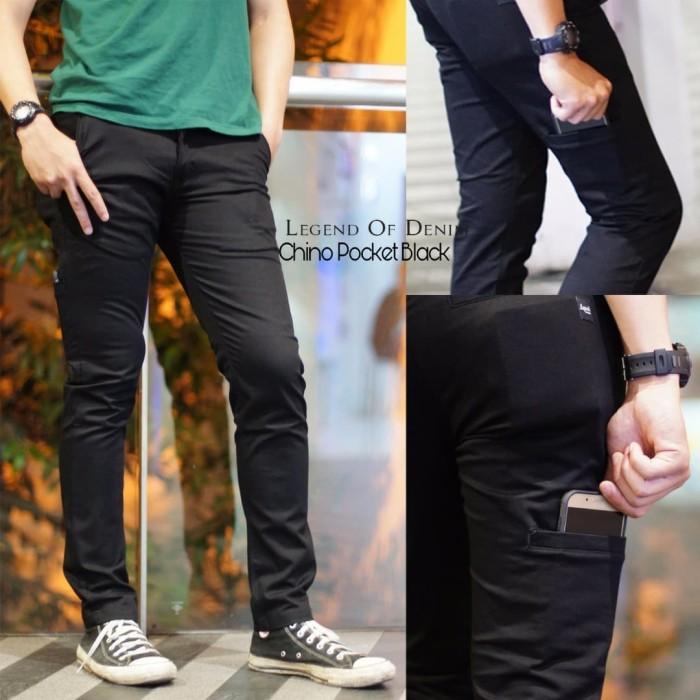 Foto Produk CELANA CHINO POCKET LOD HITAM / CINO LEGEND OF DENIM BLACK / CINOS ORI dari Wallrosmart Cloth