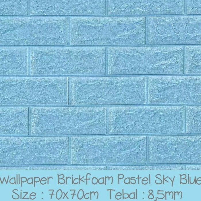 Jual Terbaru Baru Wallpaper 3d Brick Foam Blue Wallpaper Batu Bata