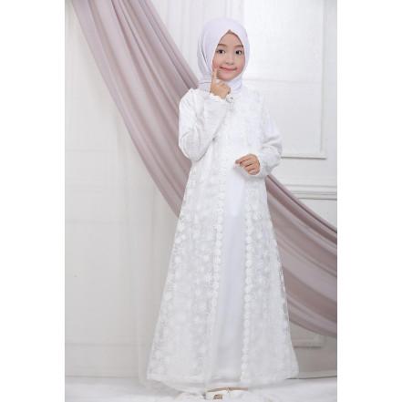 Jual Baju Gamis Anak Brukat Putih Lebaran Umroh Haji