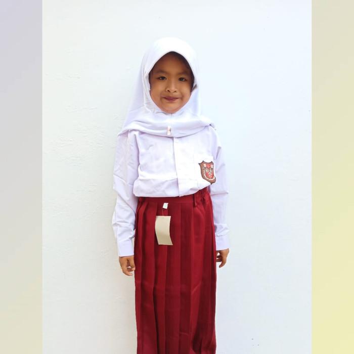 Foto Produk Setelan Seragam anak Perempuan SD Merah Putih Baju Panjang Dan rok pjg - 6-7 tahun dari Syaraaswordrobe