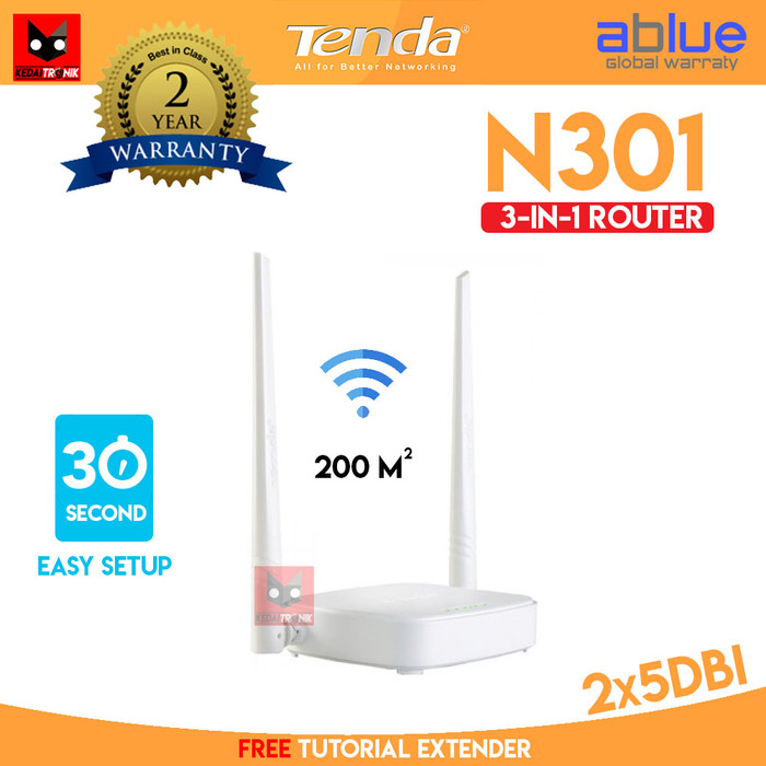Foto Produk Tenda N301 3 in 1 Wireless ROUTER+Access Point+EXTENDER WIFI 301 AP dari Kedaitronik