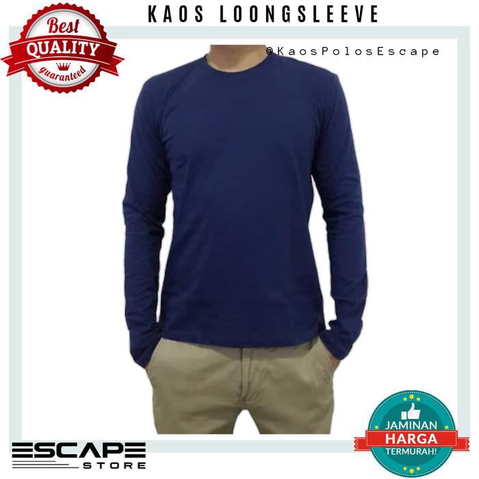 Jual Kaos Lengan Panjang Polos Real Cotton Combed 30s Warna Biru Dongker Kota Bekasi Escape Store Tokopedia