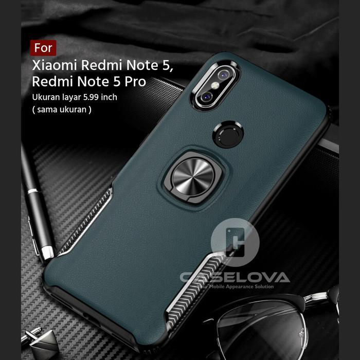 Foto Produk Case Xiaomi Redmi Note 5 / Note 5 Pro Hardcase Ring Carbon Thunder - Hitam dari Caselova Store