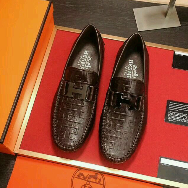 Jual Sepatu Casual Slip On Pria Hermes Man Leather Brown Original