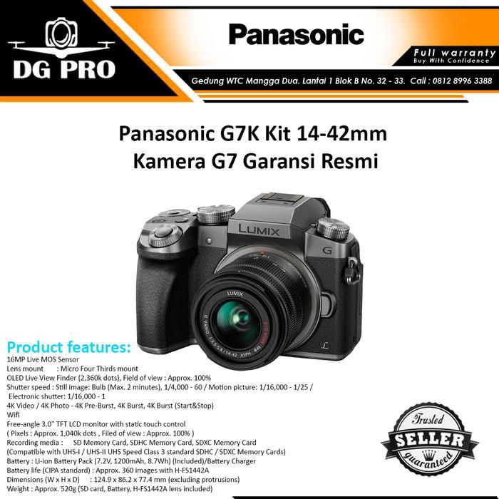 harga Panasonic g7k kit 14-42mm + tas16gbfilterc kittripodanti gores Tokopedia.com