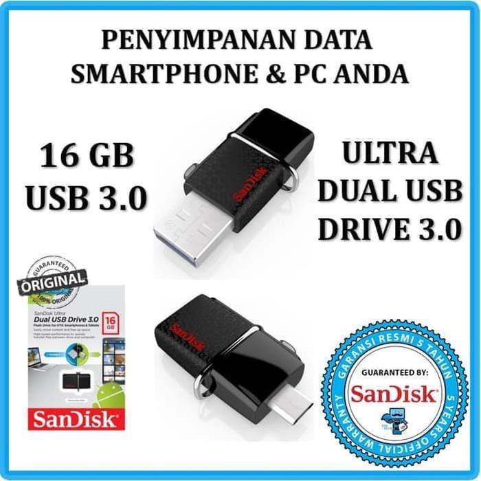 harga Usb otg flashdisk sandisk 16 gb for android & windows/mac usb 3.0 Tokopedia.com