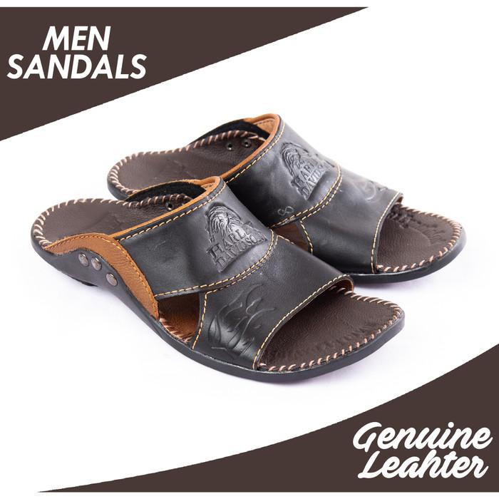 harga Sandal slop casual pria kulit sapi asli ftp s-09 harley davidson Tokopedia.com