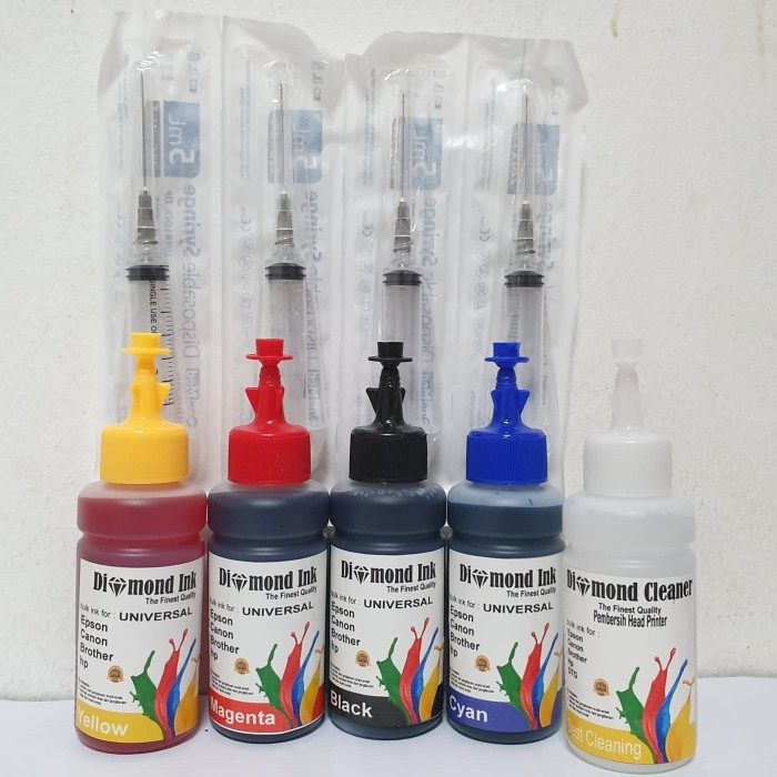 Foto Produk Paket Tinta Hp Diamond Ink Deskjet 2135 @4 Warna Dan Head Cleaner dari Multi Solution