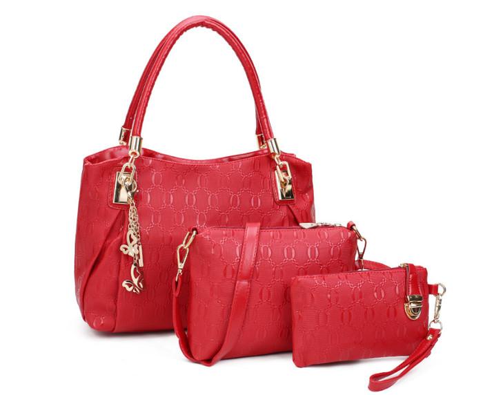 AF041 GOLD | Tas wanita import set handbag tas bahu tas selempang - RED