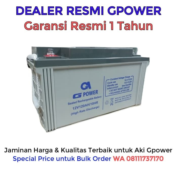 harga Aki ups gpower 12v 120ah - batere ups - battery ups - aki kering vrla Tokopedia.com