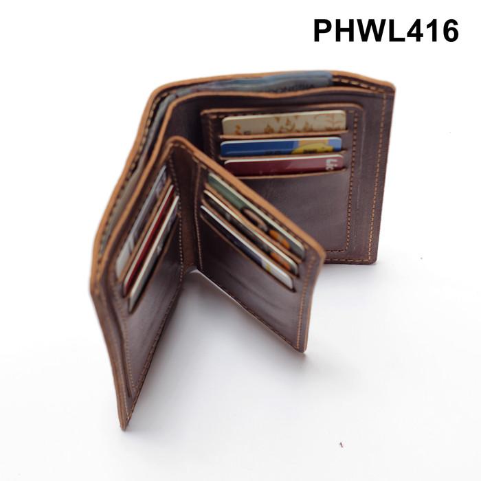 dompet medium 3/4 model sisipan tengah kulit sapi asli coklat PHWL416
