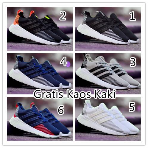 harga Sepatu pria adidas casual running putih list hitam import Tokopedia.com