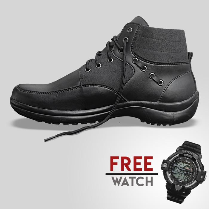 harga Sepatu casual pria svd jd-mz10 all black (free jam tangan digital) Tokopedia.com
