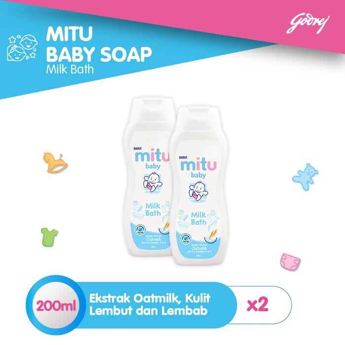 Foto Produk Mitu Baby Liquid Soap Milkbath Bottle 200ml [2pcs] dari Mitu Indonesia