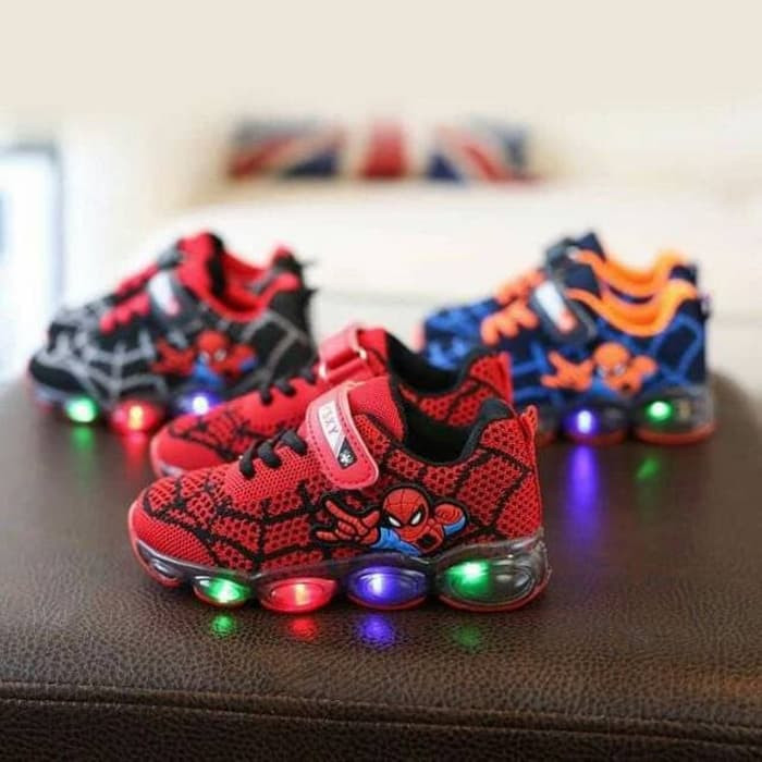 e07256cb33c Spiderman LED Shoes /Spiderman Velcro LED Shoes /Sepatu Spiderman Anak - ,