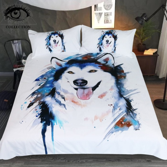 3D Animal Husky Dog Premium Duvet Quilt Cover Bedding Set