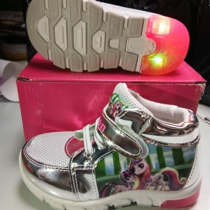 Jual Promo Sepatu Lampu Led Anak Cewe Kuda Poni Little Pony Impor