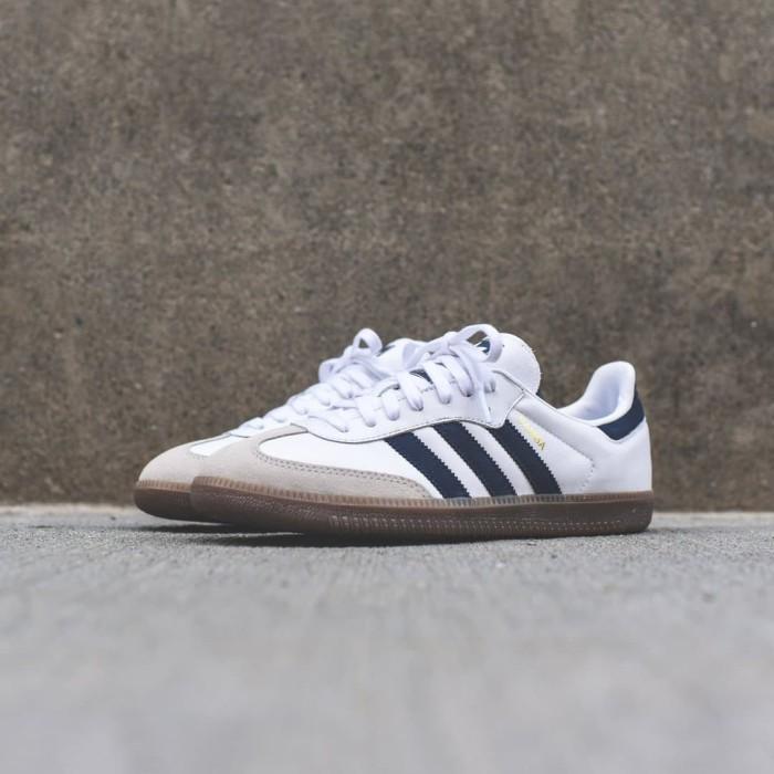 f4e9e7d8b Jual ORIGINAL 100%! Sepatu Casual Adidas Samba OG White Navy Leather ...