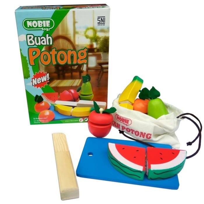 Foto Produk nobie buah potong mainan edukasi kayu kado anak souvernir edukatif SNI dari Edukasi Toys
