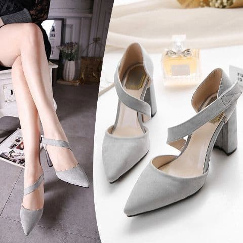 Foto Produk sepatu hak tali silang heels - Abu-abu, 36 dari efraim shoes