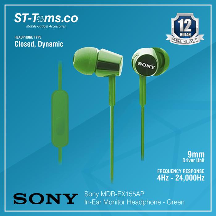 harga Sony in-ear monitor headphone mdr-ex155ap / ex 155ap - red - hijau tua Tokopedia.com