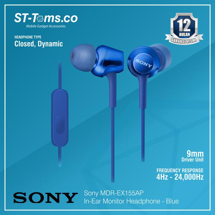 harga Sony in-ear monitor headphone mdr-ex155ap / ex 155ap - red - navy Tokopedia.com