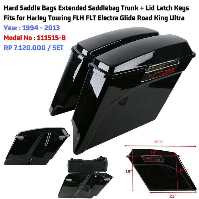 3 Keys Hard Saddlebag Saddle Bag Lock Set for Harley Davidson Touring Electra Glide Road King 2014-2018 Black