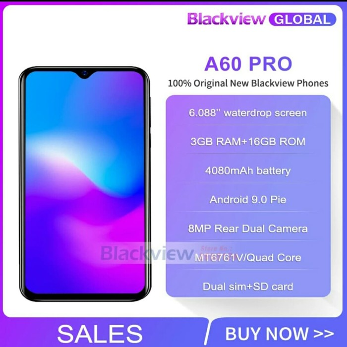 Jual Blackview A60 Pro Smartphone 4080mAh Battery 6 088'' Waterdrop Screen  - Kab  Cirebon - GNF Shop2 | Tokopedia