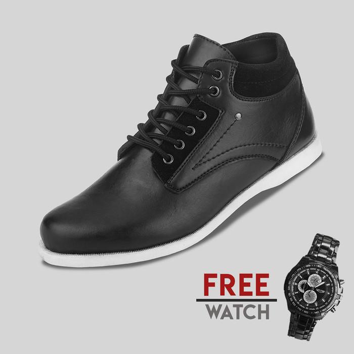 Foto Produk Sepatu Casual Pria S. Van Decka J-TY01 Free Jam Tangan Sport - Hitam, 40 dari S.Van Decka