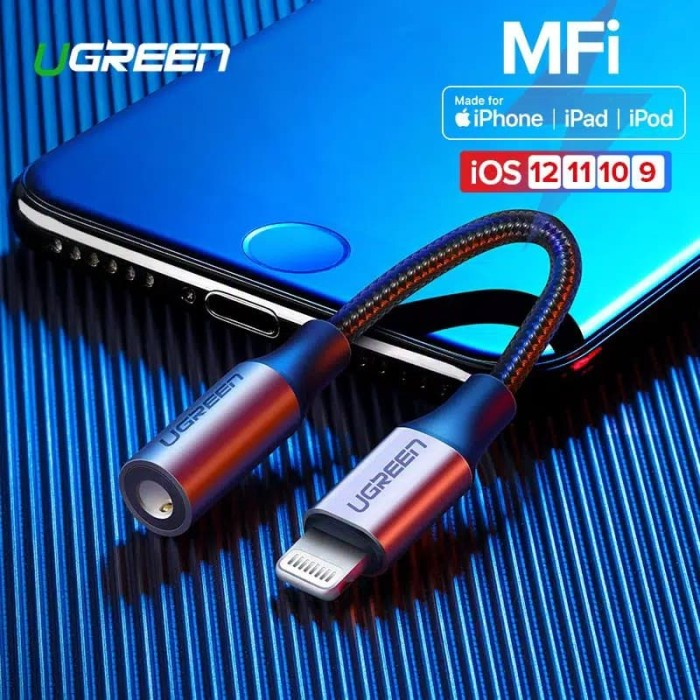 Foto Produk Ugreen MFI Lightning to Audio Headset Adapter Braided 10cm -30756 dari Ugreen ID