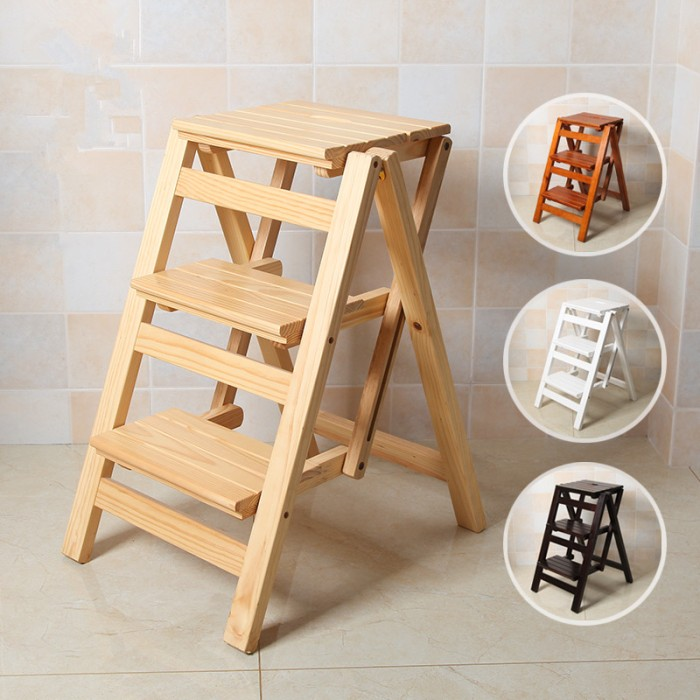 Ladder Stool Chair Bench Seat Wood Step