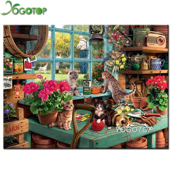 af91dc70a2 YOGOTOP DIY Diamond Painting Cross Stitch Flowers and cat Square 5D