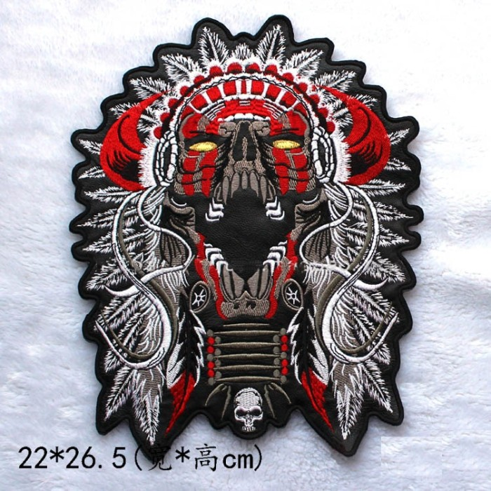 Pair Skull White Black Biker Goth EMO Embroidery iron sew on Patch Badge