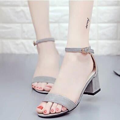 Foto Produk sepatu hak tali heels polos - Abu-abu, 36 dari efraim shoes