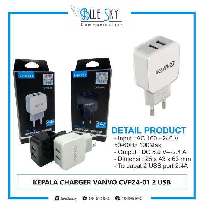 Foto Produk KEPALA CHARGER VANVO CVP24-01 2 USB dari Blue Sky Communication