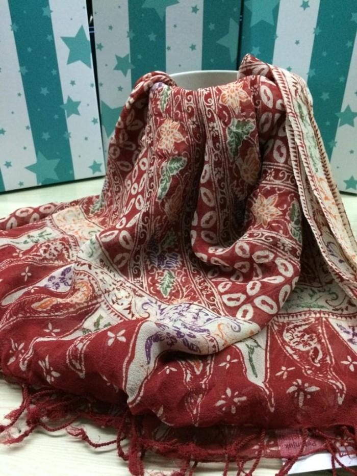 Foto Produk Selendang Batik Sutera ATBM Pekalongan Brand Batik Muda (100% Sutera) - Merah dari BatikMuda