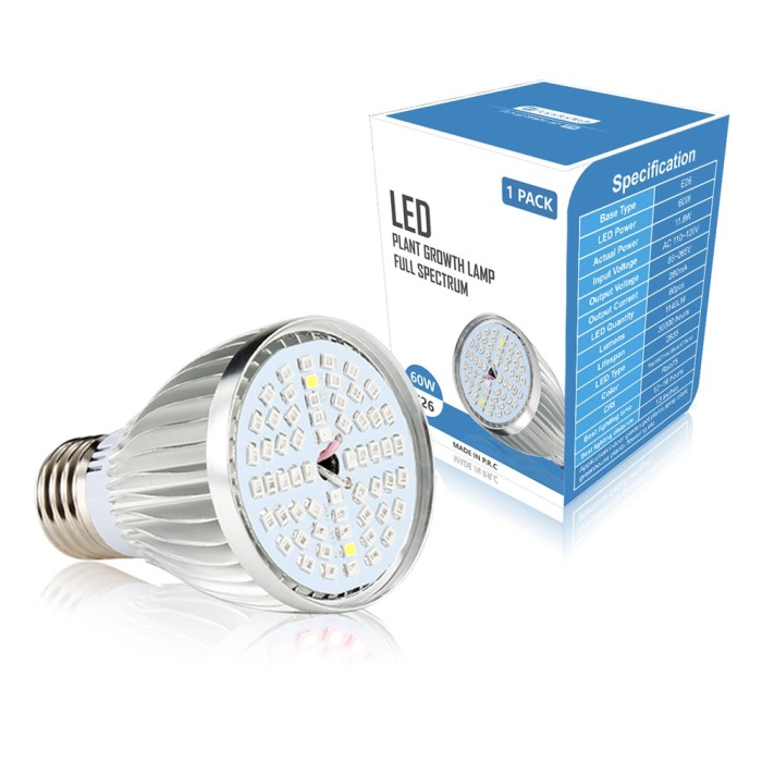 Jual Terbaru 9 5W E26 Full Spectrum 60 LED Grow Light Bulb for Vegetable -  DKI Jakarta - Executive Safira Shop | Tokopedia