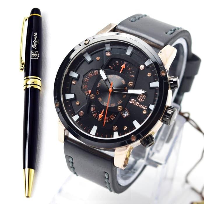 harga Jam tangan tetonis original pria kulit black rose Tokopedia.com
