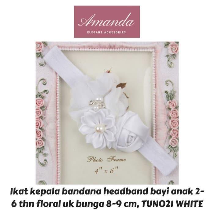 Foto Produk Ikat kepala bandana headband bayi anak 2-6 thn floral TUN024 ivory - White dari HAND BOUQUET AMANDA